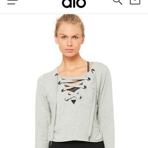 Alo Laced Up Cropped Pullover, size medium